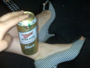 Heels and a High Life that's the way Moon rolls